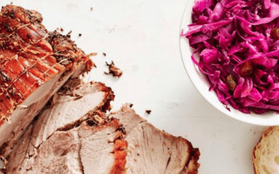 Spiced Roast Pork with Blueberries & Cabbage